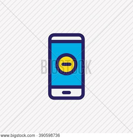 Vector Illustration Of Remove Icon Colored Line. Beautiful Smartphone Element Also Can Be Used As Mi