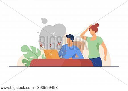 Young Man Having Broken Computer And Woman Shocked. Fume, Defect. Flat Vector Illustration. Broken T