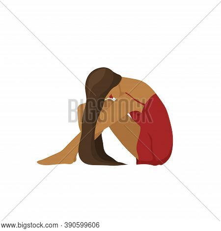 Picture Of A Dark Skinned Sad Woman In Red Dress Sitting On The Floor Hugging Her Knees. Concept Of