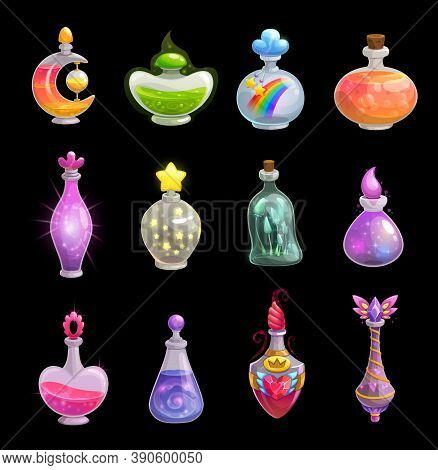 Potion Bottles Vector Icons, Elixir In Glass Flasks With Magic Dust And Stars, Love Potion And Rainb