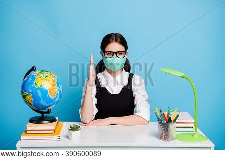 Portrait Of Her She Nice Attractive Intellectual Diligent Girl In Reusable Mask Sitting Rising Hand