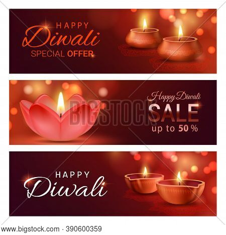 Diwali Light Festival Sale Offer Banners With Vector Diya Lamps Of Indian Deepavali. Discount Price