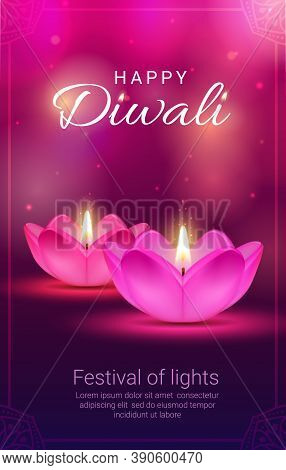 Indian Diwali Light Festival Diya Lamps Vector Design Of Hindu Religion Holiday. Deepavali Oil Lamps