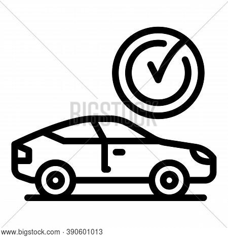 Done Car Icon. Outline Done Car Vector Icon For Web Design Isolated On White Background