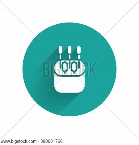 White Cotton Swab For Ears Icon Isolated With Long Shadow. Green Circle Button. Vector Illustration
