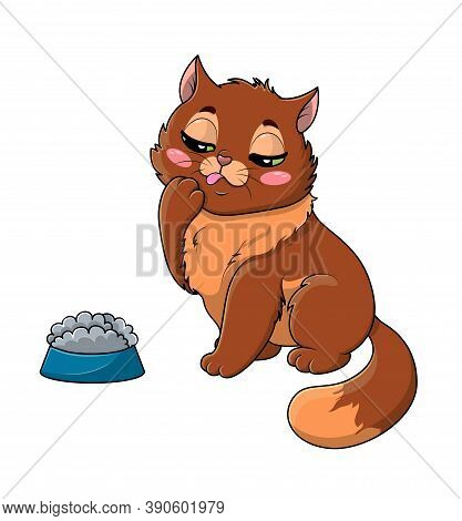 Fussy Or Picky Hungry Little Cartoon Cat Eyeing Its Food In The Bowl With A Thoughtful Expression, T