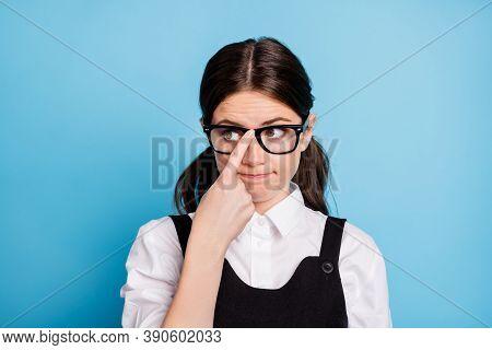 Close-up Portrait Of Her She Nice Attractive Lovely Brainy Boring Dull Brunette Schoolgirl Nerd Geek