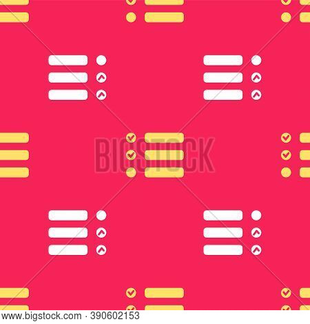 Yellow Task List Icon Isolated Seamless Pattern On Red Background. Control List Symbol. Survey Poll