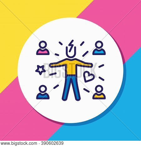 Illustration Of Attract People Icon Colored Line. Beautiful Emoji Element Also Can Be Used As Attrac