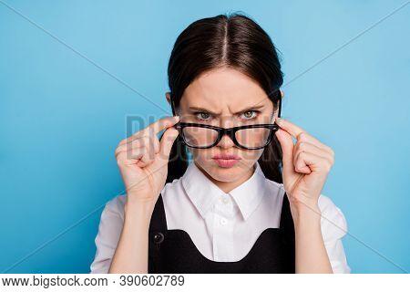 Close-up Portrait Of Her She Nice Attractive Pretty Strict Unsatisfied Schoolgirl Nerd Geek Touching