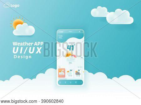 Weather App Ui/ux Kit Elements, Website Landing Page Vector
