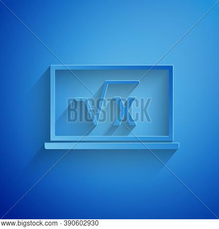 Paper Cut Square Root Of X Glyph On Chalkboard Icon Isolated On Blue Background. Mathematical Expres