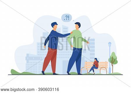 Man Asking Question Other Man In Park. Problem, Confusion. Flat Vector Illustration. Talk And Search