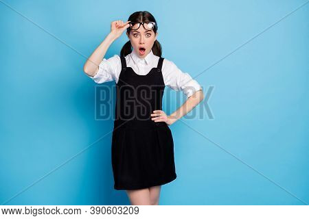 Portrait Of Her She Nice Attractive Pretty Lovely Amazed Schoolgirl Nerd Geek New Semester Task Exam