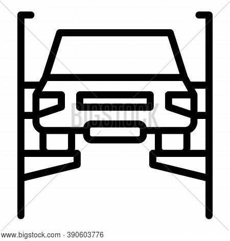 Car Lifted Icon. Outline Car Lifted Vector Icon For Web Design Isolated On White Background