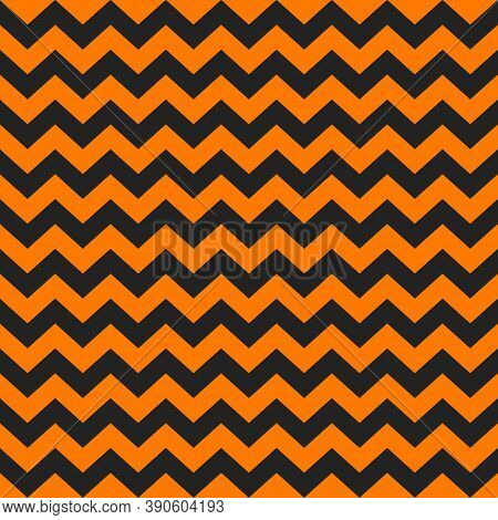 Zig Zag Halloween Pattern. Regular Chevron Stripes Of Orange And Black Color. Classic Zigzag Lines A