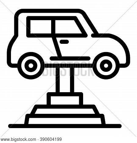 Garage Car Lift Icon. Outline Garage Car Lift Vector Icon For Web Design Isolated On White Backgroun