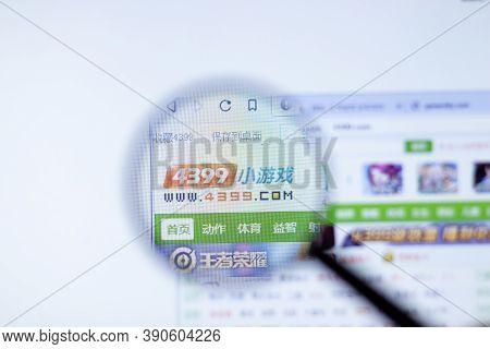 New York, Usa - 29 September 2020: 4399.com 4399 Company Website With Logo Close Up, Illustrative Ed