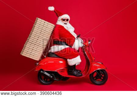 Full Length Profile Photo Of Retired Grandpa White Beard Ride Vintage Moped Pizza Boxes Christmas Ch