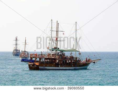 Alanya, Turkey - September 01, 2008: People Are Swim In Mediterranean Sea On September 01, 2008 In A