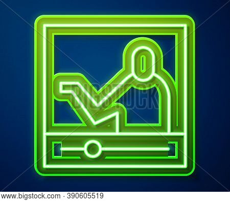 Glowing Neon Line Online Education And Graduation Icon Isolated On Blue Background. Online Teacher O