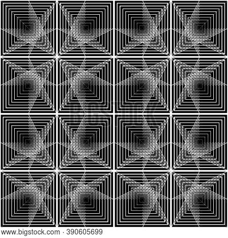 Design Seamless Grating Pattern. Abstract Monochrome Lacy Background. Vector Art