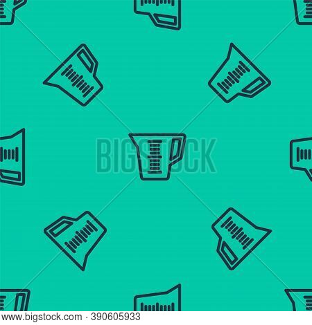 Blue Line Measuring Cup To Measure Dry And Liquid Food Icon Isolated Seamless Pattern On Green Backg