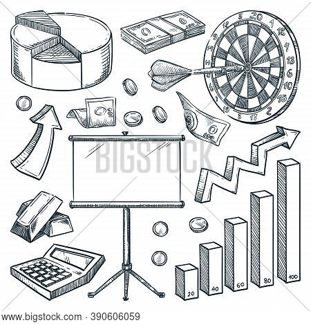 Investment And Finance Business Icons. Hand Drawn Vector Sketch Illustrations. Commerce And Marketin