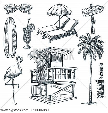 Miami Beach Landmark Symbols. Florida Vacation Design Elements Set. Vector Doodle Sketch Illustratio