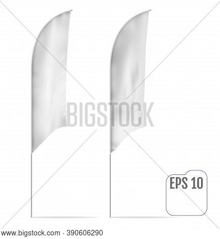 Realistic Mockup Of Banner Flag With Folds. Outdoor Feather Flag, Stander Advertising Banner Shield.