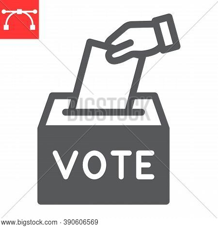 Hand Voting Ballot Box Glyph Icon, Election And Vote, Vote Box Sign Vector Graphics, Editable Stroke