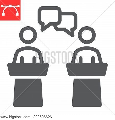 Debate Glyph Icon, Election And Discussion, Political Debate Sign Vector Graphics, Editable Stroke S