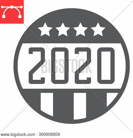 Vote Badge 2020 Glyph Icon, Election And Democratic, Vote Button Sign Vector Graphics, Editable Stro