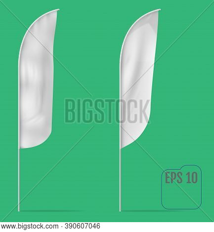 White Feather Banner Flag. Realistic Mockup Of Feather Flag With Folds And Mounting. Vector