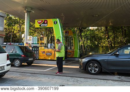 Mol Gas Station In Downtown Of Bucharest,  Romania, 2020.