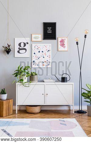 Stylish Scandinavian Interior Of Open Space With Designfurniture, Mock Up Poster Gallery, Plants, De