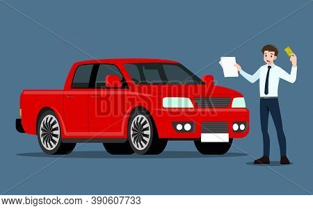 A Happy Businessman, Salesman Is Standing And Present His Vehicles For Sell Or Rent That Parked In T