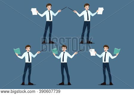 Set Of Businessman Pose As Pointing To Educate, Presentation, Meeting, Conference, Mentor, Coach On
