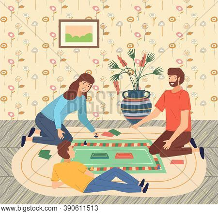 Father, Mother, Son Teenager Playing Monopoly At Floor, People Spend Time Together. Parents And Kid