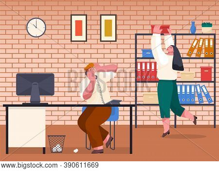 Woman Take Carton Box From Rack With Shelves. Office Worker Take Archive Files. Chaos In Office. Off