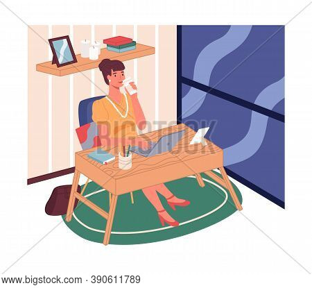 Businesswoman Drinking Coffee Or Tea And Working With Laptop Sitting Near Panoramic Window In Office
