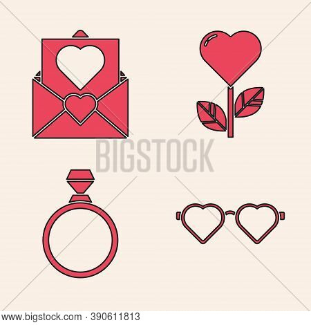 Set Heart Shaped Love Glasses, Envelope With Valentine Heart, Heart Shape In A Flower And Diamond En
