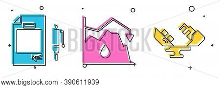Set Contract Money And Pen, Drop In Crude Oil Price And Wrecked Oil Tanker Ship Icon. Vector