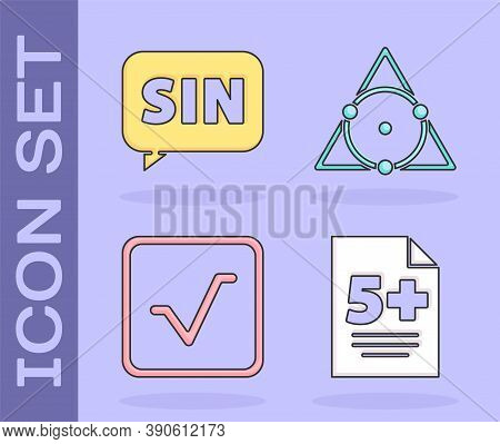 Set Test Or Exam Sheet, Mathematics Function Sine, Square Root And Triangle Math Icon. Vector