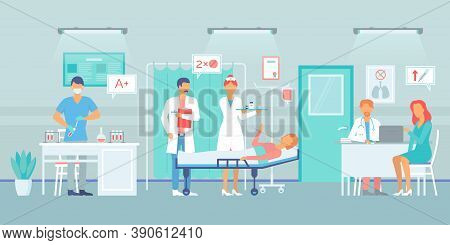 Covid-19 Test In Hospital, Laboratory Assistant Testing Blood At Virus, Doctor Man Prescribe Medicin