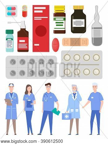 Medical Staff, Doctors, Medics, Physician, Therapist, Healthcare Web Icons Colorful Capsules, Contai