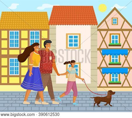 Happy Family Holding Each Other S Hand, Hugging, Walking Down The City Street Together Outdoor With
