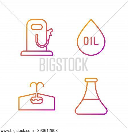 Set Line Oil Petrol Test Tube, Oilfield, Petrol Or Gas Station And Oil Drop. Gradient Color Icons. V