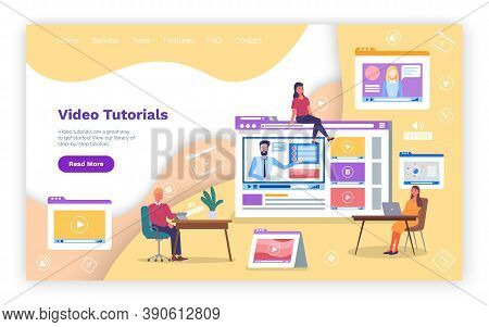 Video Tutorial Online Education, Distance Training, E-learning Concept. Vector Landing Page Template