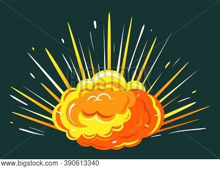 Orange Explosion With Cloud Of Dust. Impact Of Asteroid Or Meteorite, Big Bang In Motion With Fire.